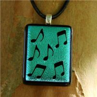 Blue Music Note Fused Glass by FusedElegance