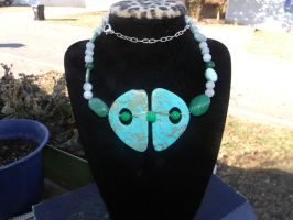 Turquiose Aventrine and Aquamarine necklace by WyckedDreamsDesigns