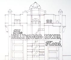 Hollywood Tower Hotel Lineart by AreteEirene