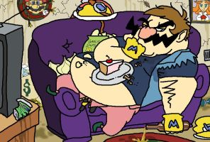 Wario Kicks Back by HoppyBadBunny