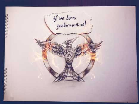 Mockingjay pin - drawing by KEATONdesigns