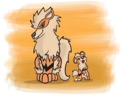 REQUEST: Arcanine and Growlithe by Flipfox00
