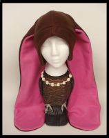 Brown and Pink Bunny Hat by Mermade4u