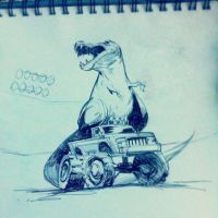 T Rex on a Monster Truck by GWhitehall