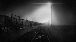 Closed Railroad at Night by Masney