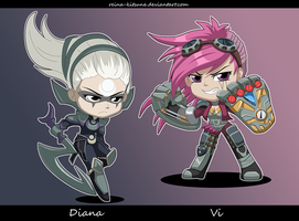 League of Legends: chibi Diana and Vi by Reina-Kitsune