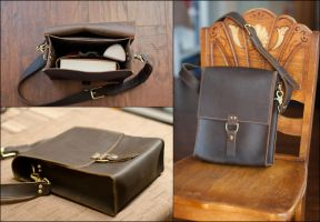 Small Stoned Oil Leather Satchel by CraftedSteampunk
