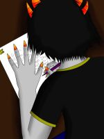 Sollux writing to Eridan by maybemorgansonfire