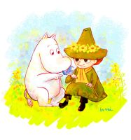 Moomin and Snufkin by uniumi