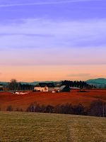 Countryside panorama in beautiful sunset colors by patrickjobst