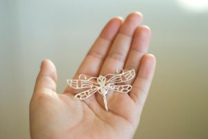 Silver Dragonfly Pendant with Opal and Gold detail by MirielDesign