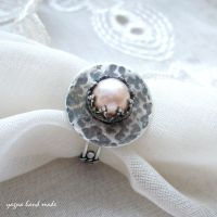 Rustic Pearl - a ring by yagnahandmade