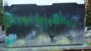 northern lights spray paint by LaleyWasHere