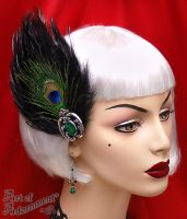 Peacock Flapper Hair Clip Fascinator by ArtOfAdornment