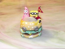 Spongebob and Patrick in Pattie Wagon by ShadyDarkGirl