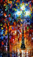 Blue lights oil painting by Leonid Afremov by Leonidafremov