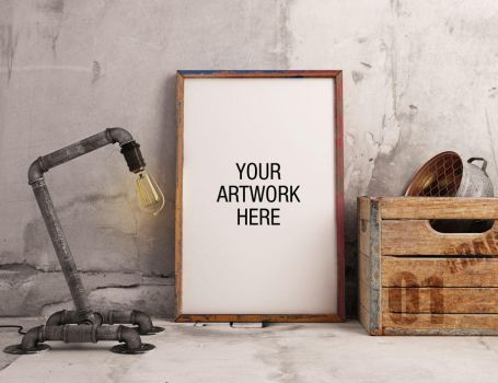 Free Download Frame Mockup with Industrial Lamp St by symufa