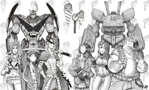 Team Gurren. Team Megas. by SRYMoND