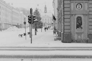 town hall square in heavy snow by dzorma