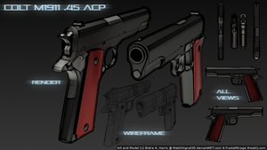Colt M1911 .45 ACP (Multi-view Comic Render) by MatchSignal3D