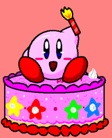 Kirby on a Cake by Pikmingirl