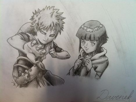 Hinata and Gaara by Aprilaen