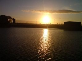 Sunset over Liverpool docks! by DavidEvz