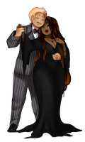 Tropical Sweets: Gomez and Morticia by GingerQuin