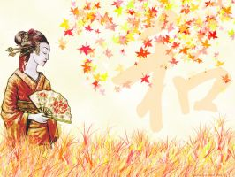 Geisha in autumn ver. 1 by dorota-kirie
