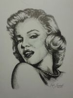 Marilyn Monroe in ink by Somewhatdestroyed