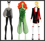 DC comics: Catwoman, Poison Ivy, Harley Quinn by MangoBanano