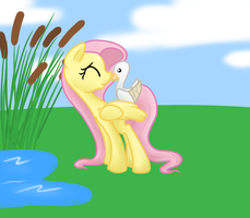 Fluttershy and Duck by Otterlore