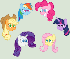 Mane 6 heads coloured by Zacatron94