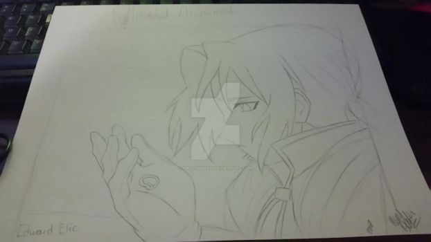 Edward elric pencil drawing by Blueskys33
