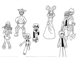 Pokemon Gym Leaders -LINEART by LatiasGirl93