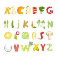 26 Vegetables And Fruit Letter Design Vector by FreeIconsdownload
