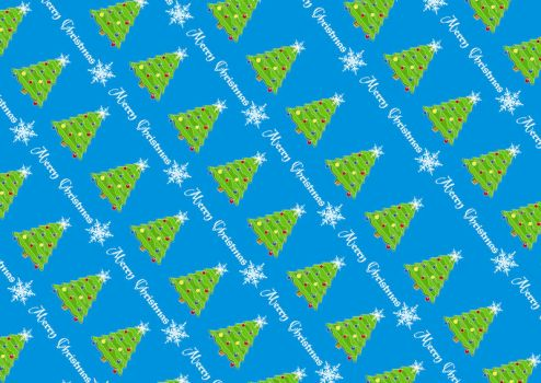 Wrapping Paper Christmas Tree Blue by spidergypsy