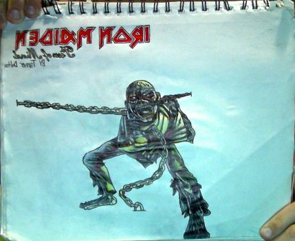 Eddie #4 + Iron Maiden: Piece of Mind logo drawing by TannMann64