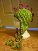 Pink, Green Dino Beanie by AAMurray