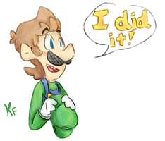 Luigi win by Kirafrog