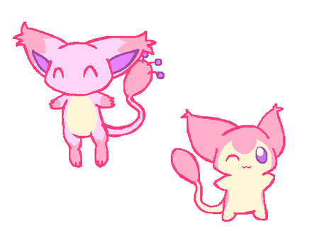 Skitty/Mew hybrids by popsicle-star