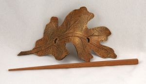 Oak Leaf Leather Barrette by ArmouredWolf907