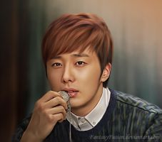 Jung Il Woo - Do young - Golden Rainbow Painting by FantasyFusion