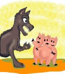 Three Little pigs Meet Wolf by Rene-L