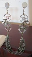 Cogwheels and Feathers - Steampunk Earrings by DanielleDucrest