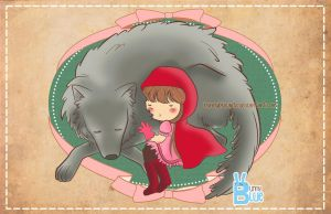 Little Red Ridding Hood and Wolf by bunnybluearts