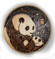 Panda Bear Plaque with Rose Quartz by BumbleBeeFairy