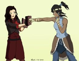 Korra and Asami Training by FireUp-Inc