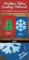 Christmas Fabric Greeting Postcards by PixelladyArt