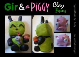 Clay: Gir and a Piggy by Wolfriderxangel